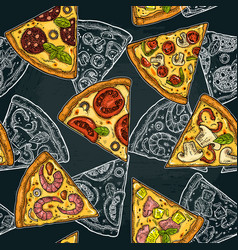 seamless pattern slice pizza pepperoni hawaiian vector image