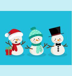 set of snowman for christmas holiday season vector image