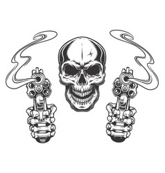 Skull aiming with two revolvers vector