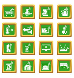 Smart home icons set green square vector