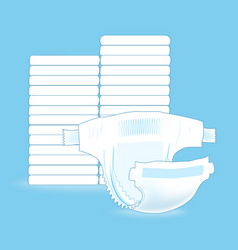 stack of baby diapers and the open diaper vector image