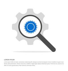 sun icon search glass with gear symbol icon vector image