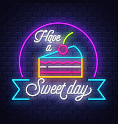 sweet food- neon sign on brick wall background vector image