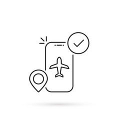 Thin line mobile air booking icon vector