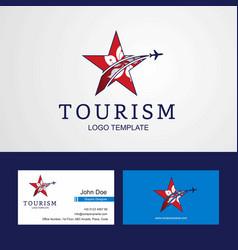 Travel hongkong flag creative star logo and vector
