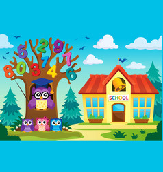 tree with stylized school owl theme 8 vector image