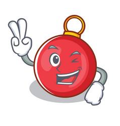Two finger christmas ball character cartoon vector