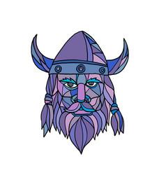 viking head mascot mosaic vector image