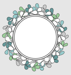 White green and blue laurel wreath frame on grey vector