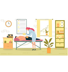 woman doctor curing patient back lying on couch vector image
