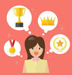 woman think about achievements vector image