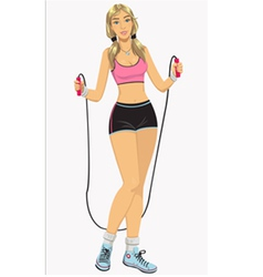 Woman with jumping-rope vector