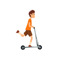 Young man riding kick scooter sport and physical vector