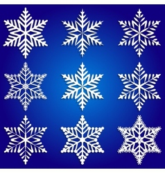 abstract set of white snowflakes on blue vector image