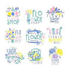 best flower shop set of logo templates hand drawn vector image vector image