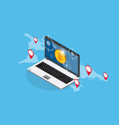 bitcoin with laptop and target symbols vector image vector image