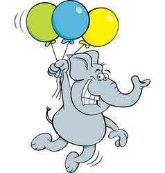cartoon elephant holding balloons vector image vector image