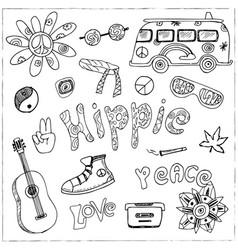 hand drawn doodle cartoon set of hippie vector image vector image