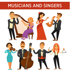musicians with instrument and elegant singers vector image