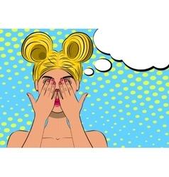 Pop art scared blond woman face vector image