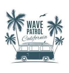 Vintage retro surf van with palms and a gull vector