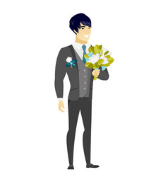 young caucasian groom with a bridal bouquet vector image vector image