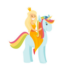 young princess with crown riding a unicorn vector image