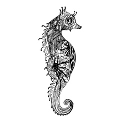 Abstract graphic sea horse print vector image vector image