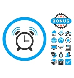 Alarm clock ring flat icon with bonus vector