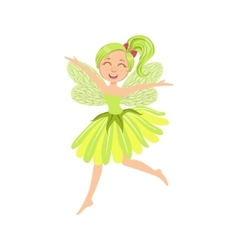 Cute Fairy In Green Dress Girly Cartoon Character vector image vector image