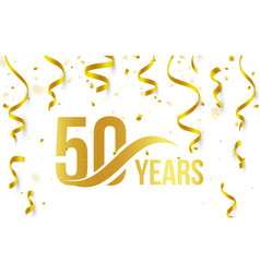isolated golden color number 50 with word years vector image