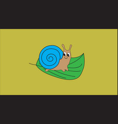 little snail sitting on green leaf vector image vector image