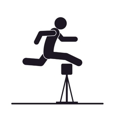 monochrome silhouette with athlete jumping hurdles vector image