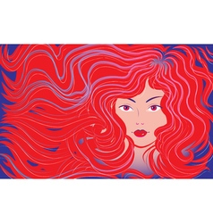 Beautiful woman with flowing hair vector image vector image