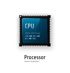 cpu microchip processor on white background vector image