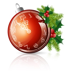 new year red ball with clock vector image