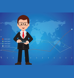 businessman hand holding a digital tablet and vector image