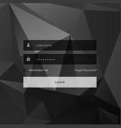 dark creative login form template design with vector image vector image