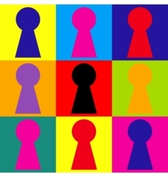 Keyhole sign Pop-art style icons set vector image vector image