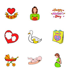 mother day icons set cartoon style vector image vector image