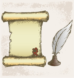 Parchment scroll and feather vector image vector image