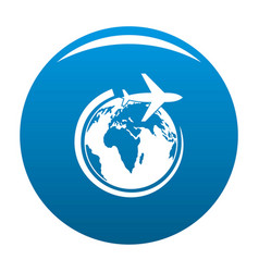 plane on earth icon blue vector image vector image