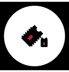 two computer chips simple isolated icon eps10 vector image vector image