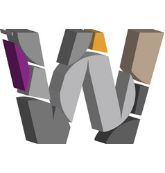 3d font letter w vector image
