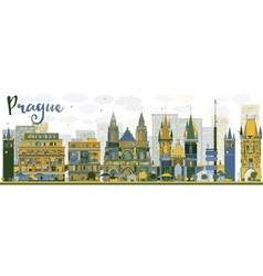 Abstract Prague skyline with color landmarks vector image