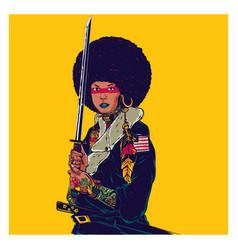 Afro samurai vector