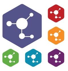Atom rhombus icons vector image