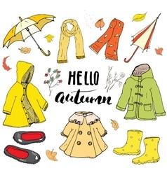 Autumn season clothes set Hand drawn doodles and vector