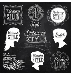 Beauty salon chalk vector
