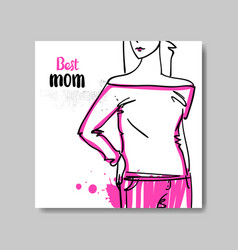 best mom card mothers day poster design with hand vector image